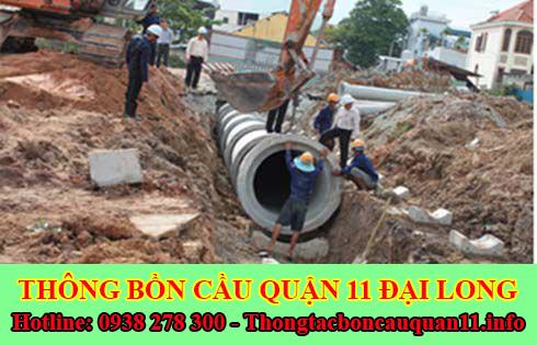 Thi công đào lắp đặt đường cống thoát nước quận 11 Đại Long.